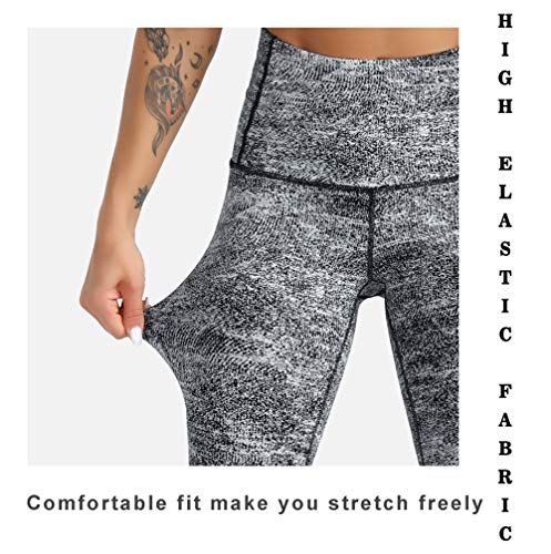 Dragon Fit Compression Yoga Pants Power Stretch Workout Leggings with High Waist Tummy Control (Small, Ankle-Black&White Jacquard)