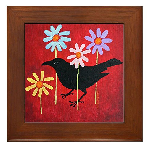 CafePress - Crow In The Daisies - Framed Tile, Decorative Tile Wall - Daisy Tile Coaster