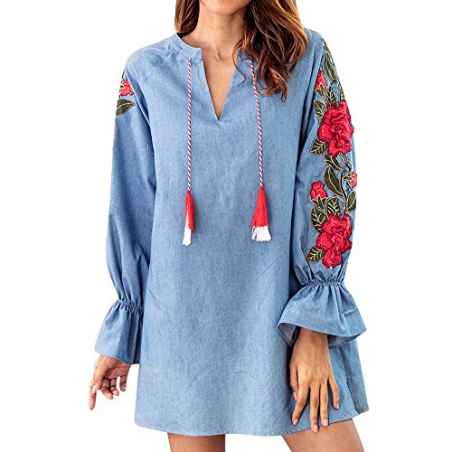 Cloth Cover Terry Halter (Women Ladies Sweatshirt Dress, Embroidered Casual Long Sleevel Mini Dress Paty Dress ANJUNIE(Blue,L))