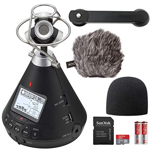 Zoom H3-VR Ambisonics AR, VR Handy Audio Recorder Bundle with Movo Deadcat Windscreen and 32GB Memory Card