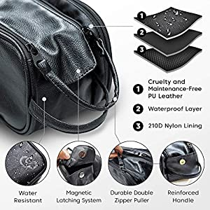 Toiletry Bag for Men or Women – Dopp Kit For Travel. Large Cosmetic and Shaving Bag. Toiletries Organizer PU Leather…