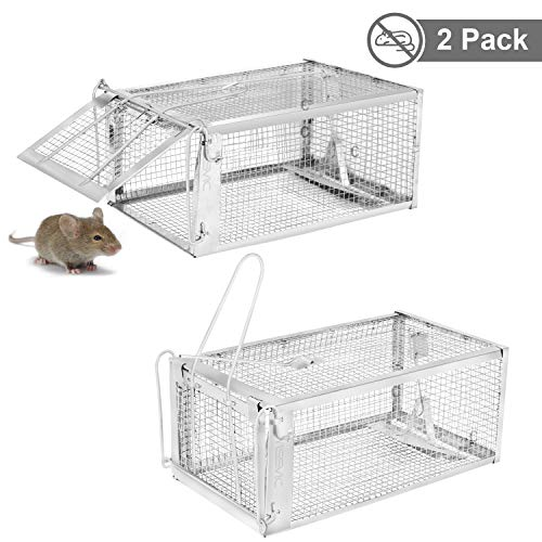 YISSVIC Live Animal Trap 2 Pack 11 Inches X 9.5 Inches X 6 Inches Catch Release Cage for Mouse Rats Mice Rodents Squirrels and Similar Small Sized Pests