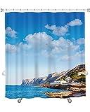 Gear New ''Denia Las Rota's Beach in Mediterranean Alicante of Spain'' Shower Curtain, 74'' X 71''