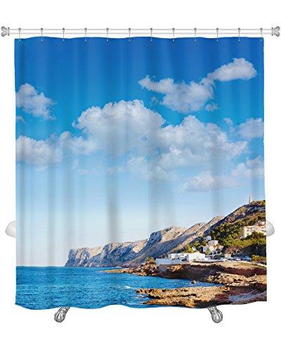 Gear New ''Denia Las Rota's Beach in Mediterranean Alicante of Spain'' Shower Curtain, 74'' X 71'' by Gear New