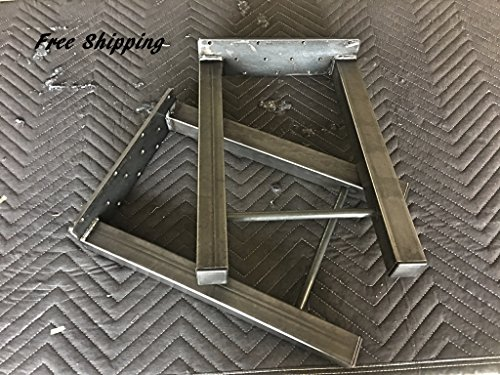 27'' Tall X 14'' Wide H Design Industrial Table/Bench Legs, 1 1/2'' Square Tubing with 1/2'' solid steel bar across lower leg, Powder Coated Clear, Set of 2 by DIY Metal Legs
