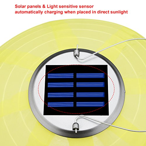6 Packs Multi-Color 10'' Solar Powered Lanterns Hanging Solar Lamps for Garden by uxcell (Image #3)