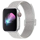 HILIMNY Compatible for Apple Watch Band 38mm 40mm, New Nylon Sport Loop, Adjustable Closure Wrist Strap, Replacement Band Compatible for iWatch Series 4 3 2 1(38mm 40mm, Summit White)