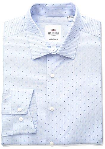 Ben Sherman Men's Clip-Spot Stripe Spread Collar Dress Shirt