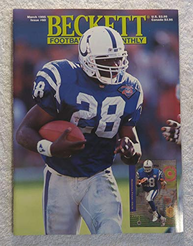 Marshall Faulk - Indianapolis Colts - Beckett Football Card Monthly Magazine - #60 - March 1995 - Back Cover: Chris Warren (Seattle Seahawks) Beckett Football Magazine Cover