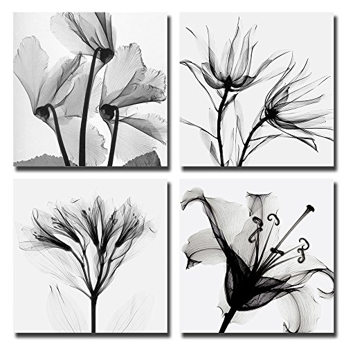 Black and white floral framed prints amazon spirit up art 4pcsset modern abstract giclee prints floral paintings pictures to photo on canvas print for wall decor and home decorations stretched and mightylinksfo