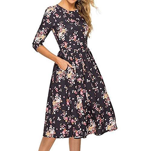 - AHAYAKU Women's Fashion Half Sleeves Round Neck Print Pocket Waist Dress Black