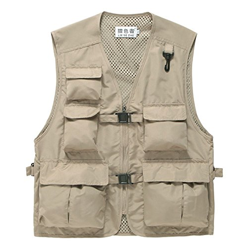 (Liesezhe Unisex Mesh Breathable Fishing Vest, Multi-pockets Photography Travel Hunting Waistcoat Jacket for Adults and Youth (Khaki, TAG XXXL- fit 171-189lb))