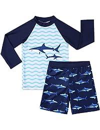 Boys Swimsuit Rash Guard Toddler Kids Long Sleeve Shark Two Piece Blue 4-5 Years
