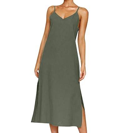 0711d16744 VEZARON 2019 Fashion Women's Summer Button Dress Evening Belt Dress  Sundress Sling Dress (Army Green