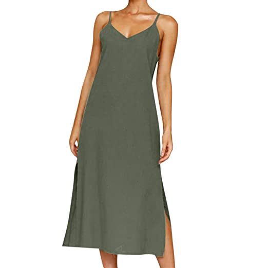 ab31bb7f9d17 RUIVE Women s Dresses Casual Summer Split Button Loose Plus Size Evening  Party Solid Color Beachwear Knee-Length Sundress at Amazon Women s Clothing  store