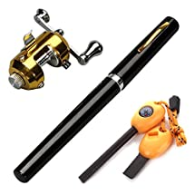 BestBuyGoods Portable Mini Pocket Pen Fishing Rod Pole Reel With Two Baits Two Fishhooks Two Fishing-buoys and 20 Meters Fish Wire+ Survival Magnesium Firestarter Compass Whistle Orange (Black or Color Random)