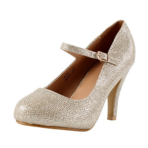 Bella Marie Helena-13 Women's Almond Toe Low Heel Mary Jane Glitter or Suede Pumps Champagne - Buckle Helena