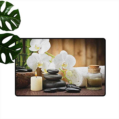 RenteriaDecor Spa,Doormat Asian Spa Style Arrangement with Zen Stones Candle Flowers and Bamboo Art 16