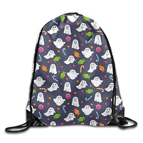 Beatybag 3D Print Drawstring Bags Bulk, Halloween Candy And Ghosts Drawstring Bag Backpack String Bags (17