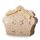 Doris Home Light Gold Laser Cut Favor Candy Box With Ribbons Bridal Shower Wedding Party Favors 100 Pack