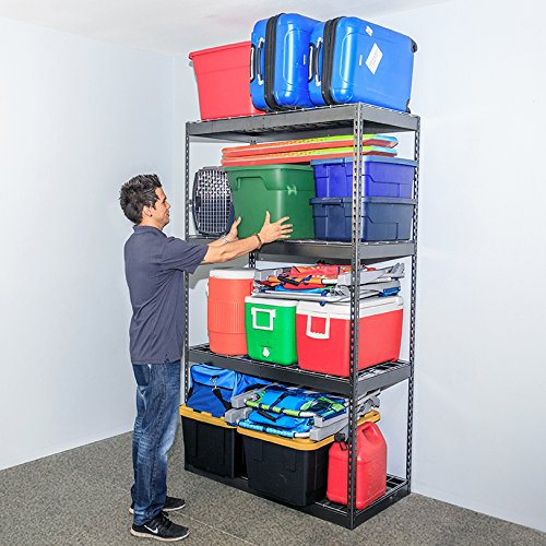 SafeRacks Garage Storage Rack - Hammertone | Steel Shelving Unit | 2'D x 4'W x 7'T by SafeRacks