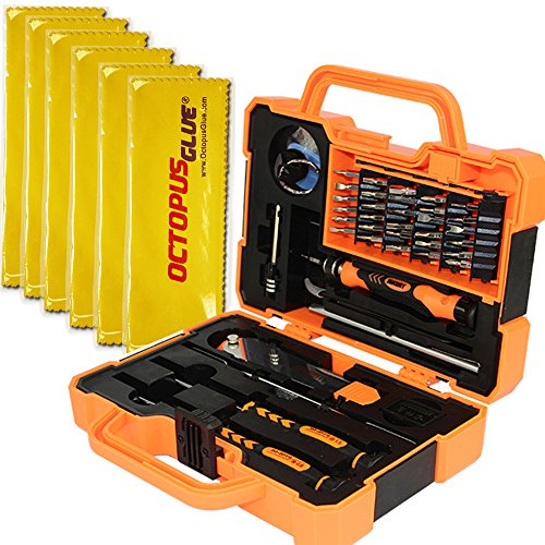 Professional Precision Screwdriver Set (45 in 1) and Cell Phone Repair Tool Kit for Mobile Smartphone, iPad, Computer, Laptop, Electronics (6pcs Octopus Microfiber Bonus)