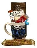 Coffee Tea Cocoa Mug Gift Set with Starbucks Via Coffee, Starbucks Hot Cocoa, Tazo Tea, Honey, Nonni's Biscotti + More -Lots of Cup Styles - (Blue Dad)