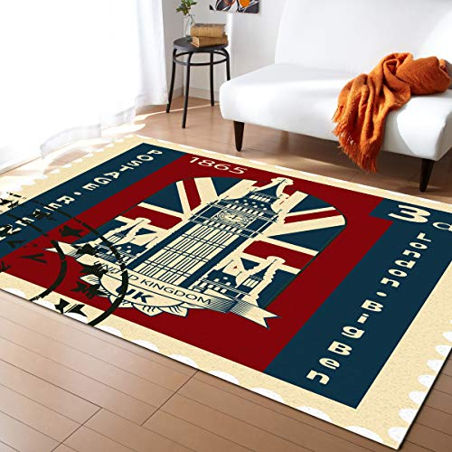 Floor 13 Halloween Seasons Tower (Fantasy Staring Non-Slip Area Rugs Room Mat- Vintage Tower of London Stamp Collection Home Decor Floor Carpet for High Traffic Areas Modern Rug Kitchen Mats Living Room Pads,)