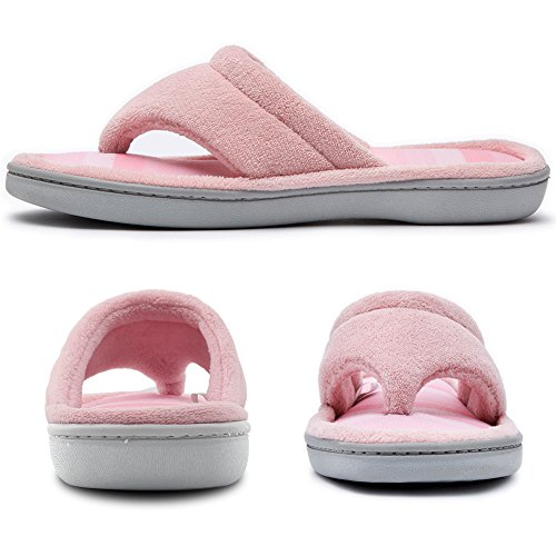 Color Flip Spa Gradational Slippers Flops Foam Niche Microfiber Textured Pink Thong Memory Cozy Women's Knit wqISPA