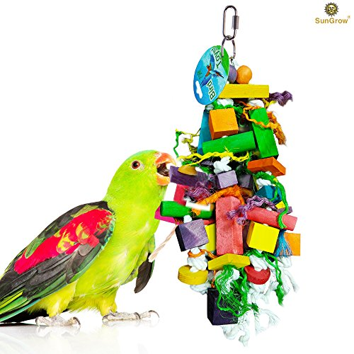 51nH2l4KT9L - SunGrow Bird Chewing Toy - For Physical & Psychological well-being of your Parrots - Nibbling keeps Beaks Trimmed - Preening keeps feathers clean - Multicolored wooden blocks attract pet's attention