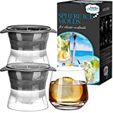 Image of Sphere Mold Ice ball Maker – Set of 2 Round Shapes Silicone Large Ice Cube Balls 2.5 inch –Great for Parties Whiskey and all Cold Beverages Premium Bar Accecsory - Kitchen Dreams