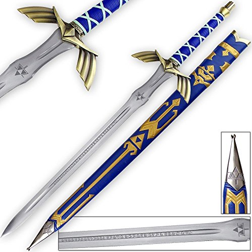 [Legend of Zelda FULL TANG Master Sword Skyward Limited Edition Deluxe Replica] (Legend Of Zelda Triforce Heroes All Costumes)