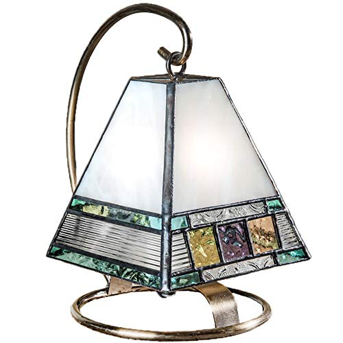 Small Lamp Tiffany Style Stained Glass Decorative Accent Night Light Table Top Mission Home Décor Bedroom, Bathroom, Nursery Multi Colored Blue Green Peach Purple J Devlin Lam 695 (Mesa Mission Table Lamp)