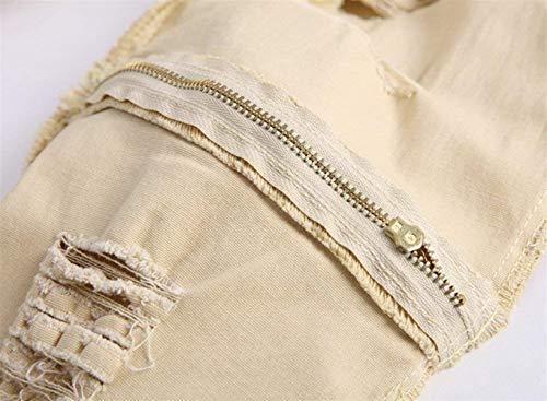 Fit Knee Vintage Jeans Kaki Slim Skinny Strappati Il Da Pants Hat Tempo Closure Denim Libero Per Moda Alla Uomo H11SznYqw