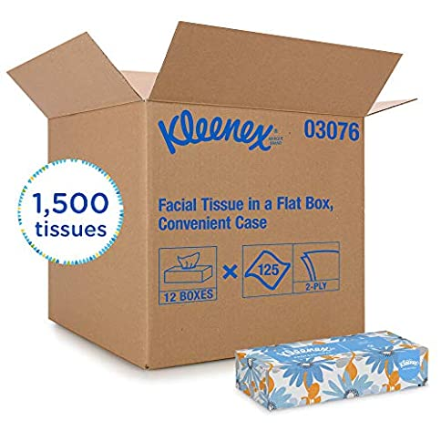 Kleenex Professional Facial Tissue for Business (03076), Flat Tissue Boxes, 12 Boxes / Convenience Case, 125 Tissues / Box - 51nH3M 2B QFL - Kleenex Professional Facial Tissue for Business (03076), Flat Tissue Boxes, 12 Boxes / Convenience Case, 125 Tissues / Box