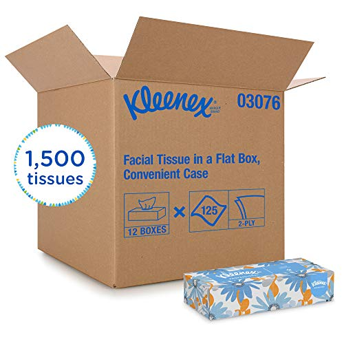 Kleenex Professional Facial Tissue for Business (03076), Flat Tissue Boxes, 12 Boxes / Convenience Case, 125 Tissues / Box ()
