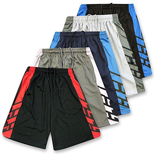 American Legend Mens Active Athletic Performance Shorts - Set 2-5 Pack, L