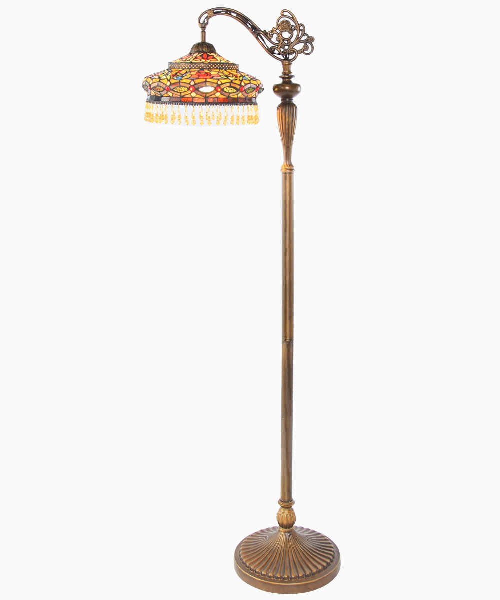 River of Goods 60-Inch Tiffany Style Stained Glass Parisian Side Arm Floor Lamp