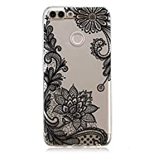 Ostop Huawei P Smart Case,Clear Lace Flower Design Soft TPU Rubber Transparent Back Cover Slim Fit Ultra Thin Anti-Scratch Resistant for Huawei P Smart-Black Henna