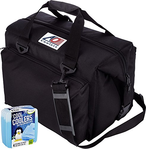 AO Coolers Canvas Series Soft Cooler with High-Density Insulation, Size 12-Can, 14 Qt. - #AO12BK - Black & Fit & Fresh Cool Coolers Slim Ice 4-Pack (Bundle)