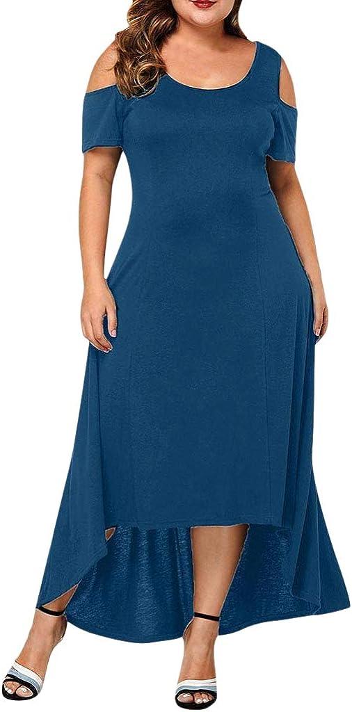 Blue,4XL Womens Plus Size Dress Sale Casual Short Sleeve Elegant Cold Shoulder Loose Dress