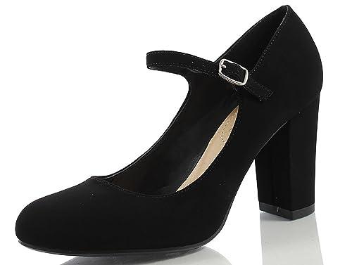 281ce7e152f4e City Classified Nola Women's Closed Toe Ankle Strap Block Heel,Black *N,5.5