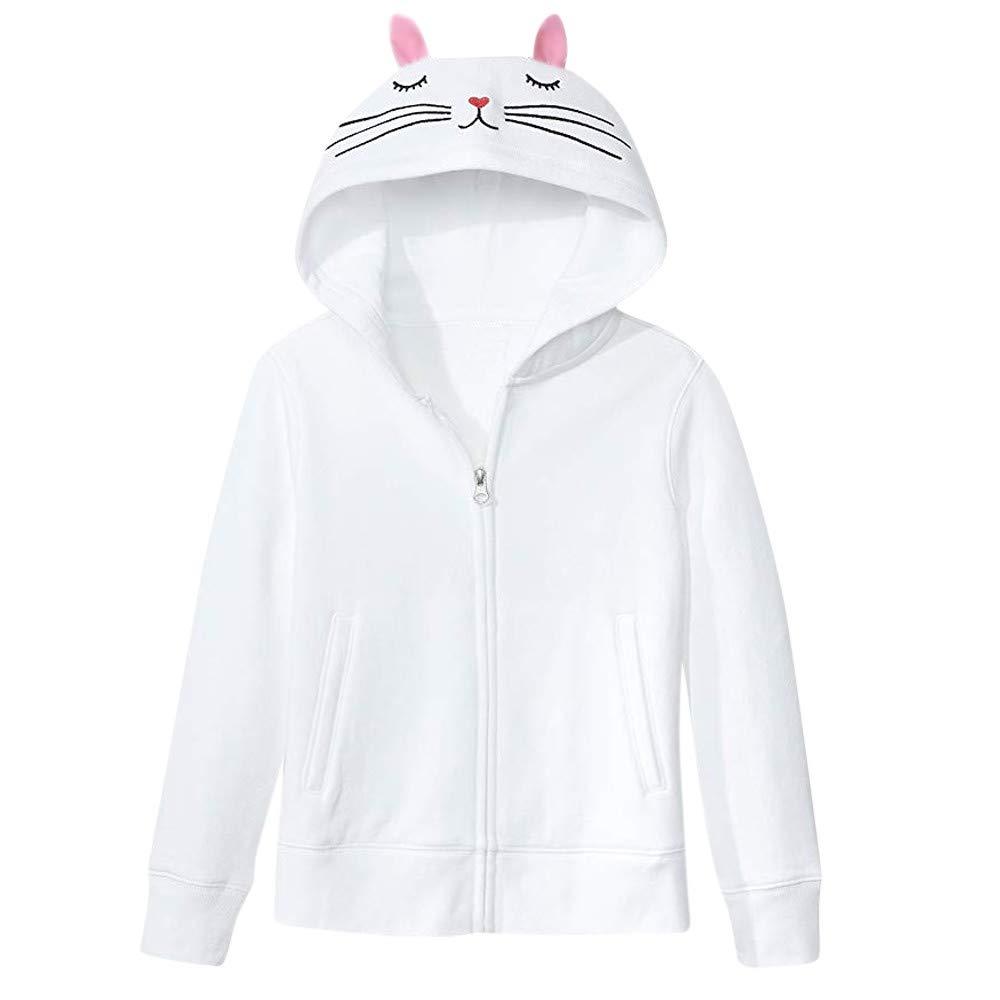 Opeer Hooded Zipper Coat Women Fashion Solid Cat Ear Long Sleeve Jacket (L(US:8), White)