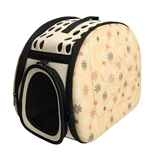 (Flower cat pet bag Travel Bag Portable Puppy Carrying Backpacks Foldable Bag Travel Pet Travel Carrier Handbag Bags,yellow,L)