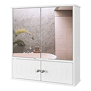 HOMECHO Armoire de Toilettes, Armoire Murale avec Miroir, Meuble de Salle de Bain avec Étagères de Rangement, 2 Portes à…