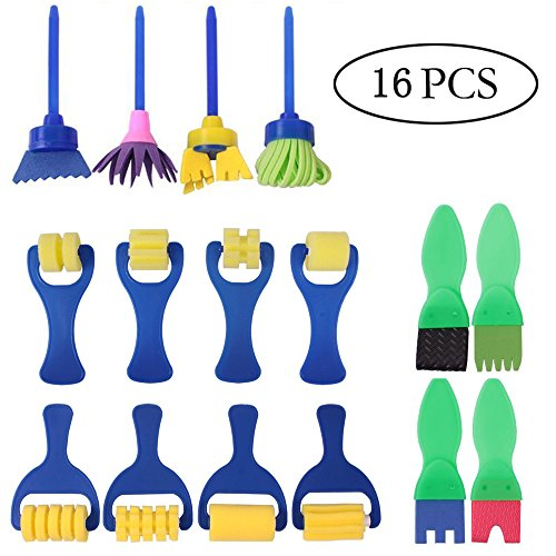 Dogxiong 16 Package Early Learning Road Track Mini Flower Sponge Painting Brushes Craft Brushes Set for Kids