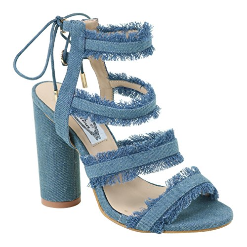New Brieten Mujeres Lace-up Chunky Sandalias De Tacón Grueso Azul Denim