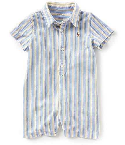 RALPH LAUREN Baby Boy Knit Cotton Oxford Shortall Blue Multi (6 Months)