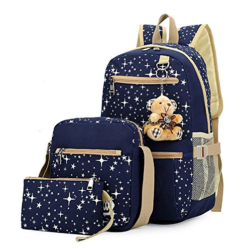 Backpack For Tenns,3 Pieces Canvas Rucksack School Bookbag Casual Laptop Star Pattern Cute Bear Pendant Daypack For ()