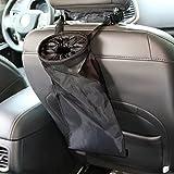 KolorFish Car Vehicle Back Seat Headrest Trash Garbage Bag, Umbrella Holder, Washable Hanging Dust Bin for Car,Travelling,Outdoor (Black) (Pack of 1)